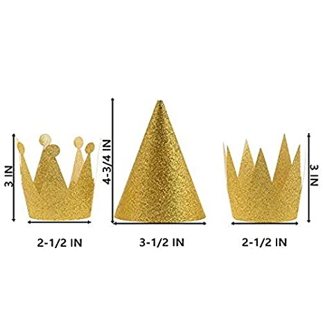 Cosmos 12 PCS Birthday Party Cone Hats Crown Laurel Hats with Ropes Gold CM