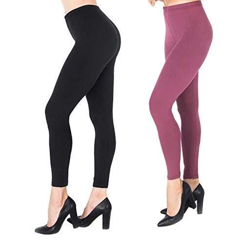 (NUUR 2-Pack Mid-Waist Leggings, Ultra Soft Yoga Workout Tights for Women Girls, All Match Style in Ankle)