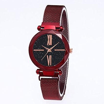 SHOUB Starry Face Magnetite Stripe Trendy Reloj para Mujer Reloj de Cuarzo y Marea