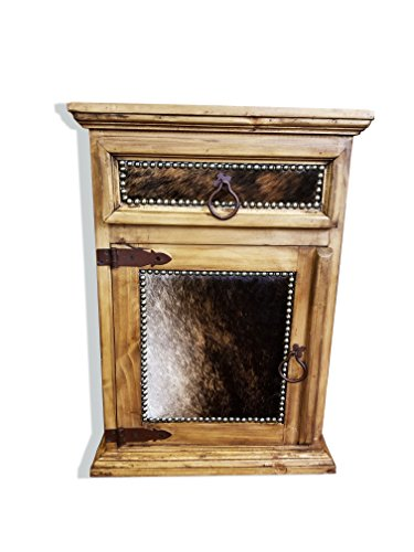 Rustic Western Nightstand End Table Cowhide Free 3 Day Shipping Honey Wax Finish Solid Wood (Honey Finish, Left Hinged)