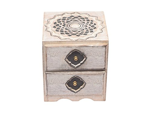 storeindya Wooden Keepsake Box/Keepsake Box with Drawers/Chest of Drawers with Cabinet/Keepsake Box for Girls/Storage Decorative Boxes/Mini Wood Cabinet/Small Wood Cabinet (White Lotus Collection)