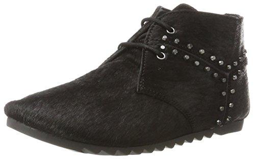Maruti WoMen Ginger Hairon Studs Leather Chukka Boots Schwarz (Pony Black)