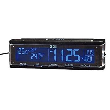 Amazon.es: Termómetro y sensores Zuii New Tech! Termómetro exterior temperatura interior Reloj fecha de coche multifunción