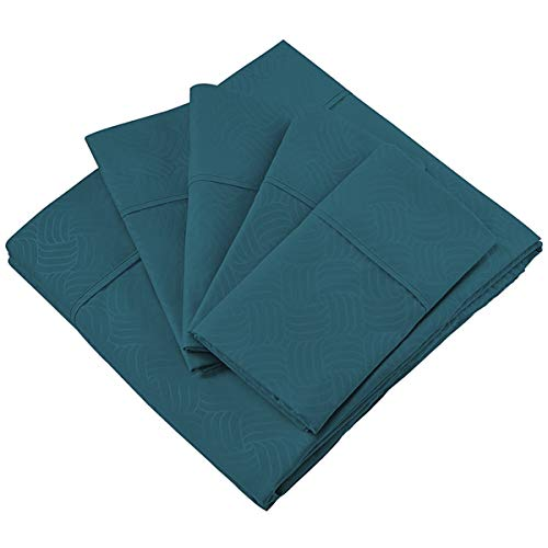 Cosy House Collection Elegant Bed Sheets - Twin Size, Dark Teal (Wavy) - Luxury 6 Piece Hotel Bedding Set - Deep Pocket - Matte and Shine Beautiful Patterns - 1 ()
