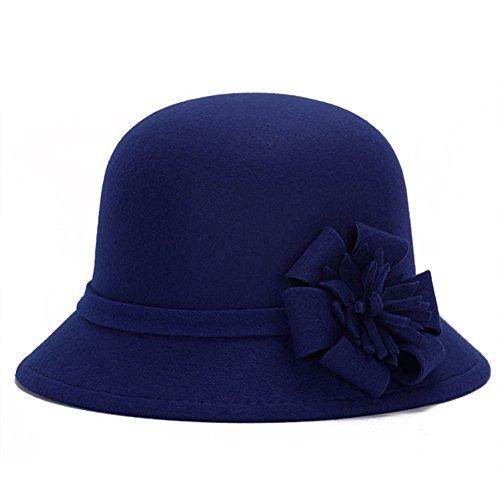Women Girls Fashion Autumn Winter Flower Bowler Hat Top Hat Felt Cap Floppy Hat -