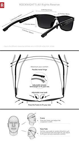 ROCKNIGHT Rectangular Sunglasses for Men Wayfarer Polarized Driving Sunglasses Metal Frame UV Protection Al-Mg Lightweight Grey by ROCKNIGHT (Image #5)