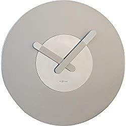 Unek Goods NeXtime In Touch Wall Clock, Silver, Battery Operated