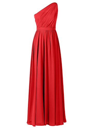 ALAGIRLS Womens One Shoulder Bridesmaid Dresses Pleat Chiffon Long Party Gowns Cherry US10