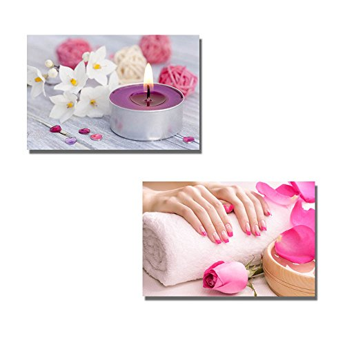 Wellness with Candle Light Female Hands with Fragrant Rose Petals and Towel Spa Concept Wall Decor ation x 2 Panels