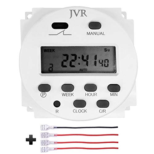 (JVR 12V Timer Switch Programmable Digital 12 Volt DC/AC/Solar Battery Powered)