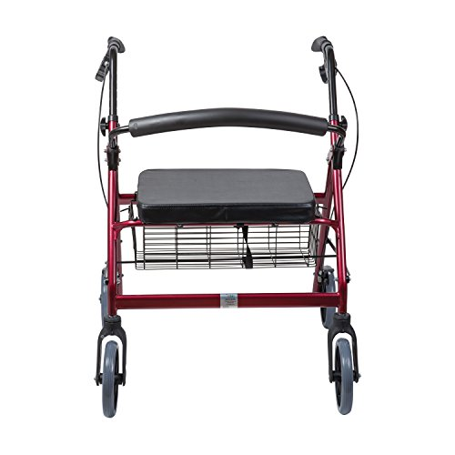 Duro-Med DMI Extra-Wide Heavy Duty Steel Bariatric Rollator Walker with Seat and Basket, Burgundy, Folding