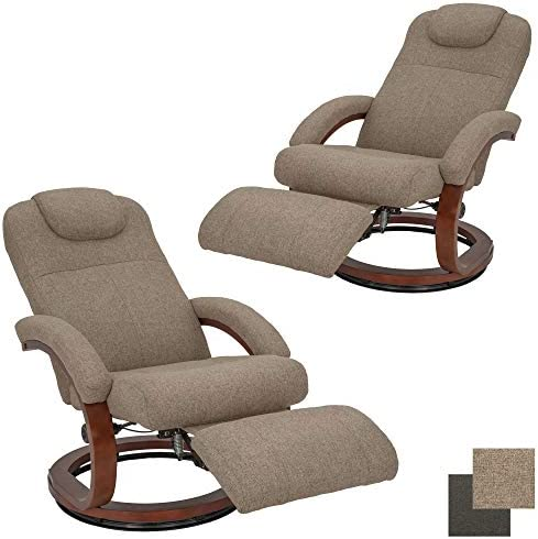 RecPro Charles 28 RV Euro Chair Recliner Modern Design RV Furniture Cloth Oatmeal, 2 Chairs