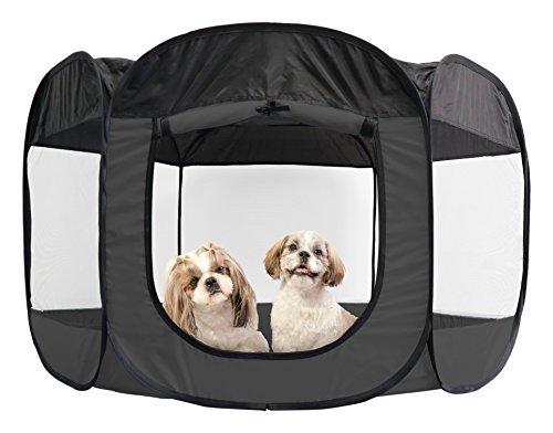 FurHaven Pet Playpen | Mesh Open-Air Dog Playpen/Exercise Pen, Gray, X-Large