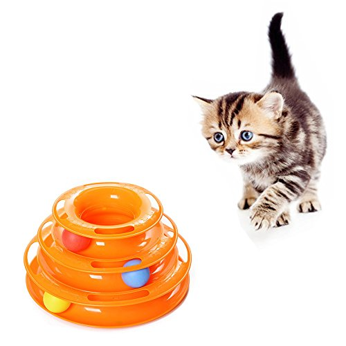 [Geekercity Creative Cat Ball Toy New Safer Bar Design Tower of Tracks Cat Toy Exerciser Game Teaser Anti-Slip Active Healthy Lifestyle- Suitable for Multiple Cats] (Costumes Out Of Cardboard Box)