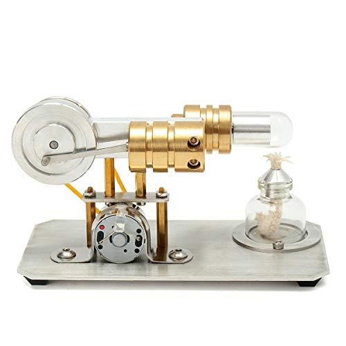 Mini Air Stirling Engine Motor Model Physics Experiment Educational Toy Kit with LED - Lab & Scientific Supplies Science Education -1 x Stirling Engine,1 x Alcohol Burner