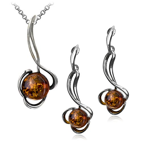 Sterling Silver Amber Ball Stud Earrings and Pendant Set 18 Inches