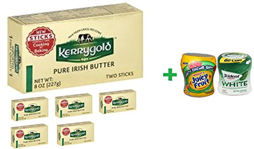 Kerrygold Pure Irish Butter Sticks Salted - 8 Oz( 6 PACK ) + Fruity Chews Gum Watermelon 1/60 Count + Trident Go Cup Spearmint 1/60 Count