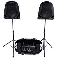 """Portable PA System - Twin 10"""" Speakers + 5 Channel Mixer - 150W"""