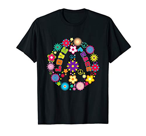 Peace Love Sign T-Shirt - Hippie Flowers Tee 60s Retro