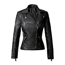 DOOXIYOUNG Women's Zipper Motorcycle Biker Faux Leather Jackets