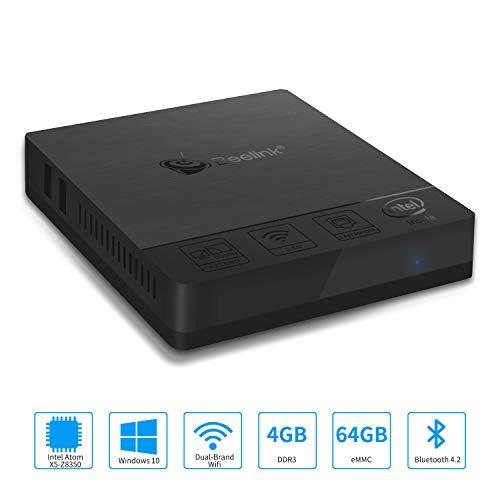Z83-F Mini PC Fanless Silent Desktop 4GB RAM, 64GB eMMC, HD Intel Quad Core CPU up to 1.92GHz, 2W TDP, 1000M LAN, Dual Band WiFi, BT4.2, HDMI&VGA Ports by Aoxun