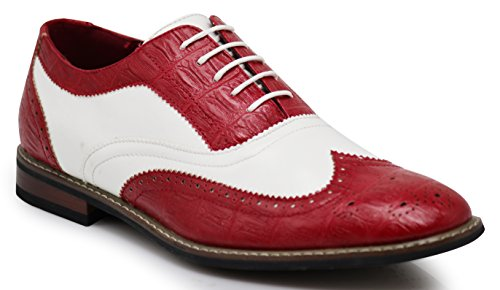 (Men's Classic Italy Modern Oxford Wingtip Captoe 2-Tone Lace Dress Shoes (10.5, CONRAD3_Wine/White) )