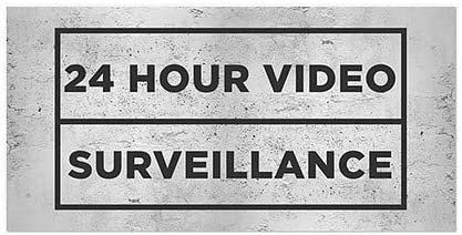 Basic Gray Window Cling 24 Hour Video Surveillance 24x12 CGSignLab 5-Pack