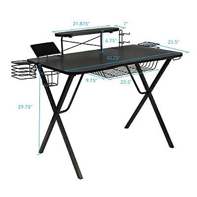 """Atlantic Gaming Original Gaming-Desk Pro - Curved-Front, 10 Games, Controller, Headphone & Speaker Storage, 40.25""""x23.5"""" Curved Front Desktop, Enhanced Larger Design"""