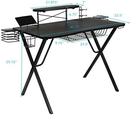 Atlantic Gaming Original Gaming-Desk Pro - Curved-Front, 10 Games, Controller, Headphone & Speaker Storage, 40.25
