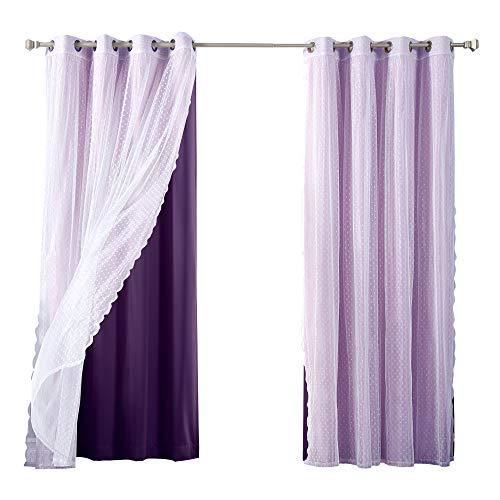 (Best Home Fashion Mix & Match Dotted Tulle Lace & Solid Blackout Curtain Set - Antique Bronze Grommet Top - Purple - 52
