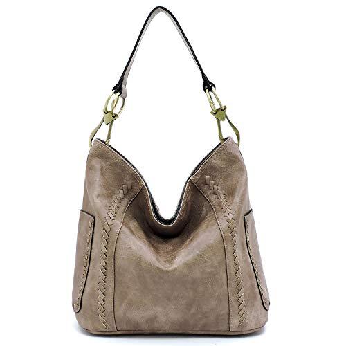 Vegan faux leather soft and slouchy bucket hobo handbag with detachable cross-body strap (Dark Blush)