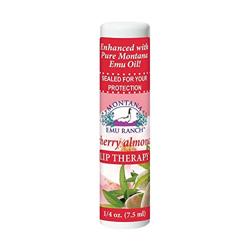 Montana Emu Ranch - Lip Therapy Lip Balm - 0.25 Ounce - Cherry Almond Flavor - Made with Pure Emu Oil
