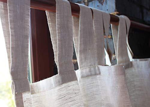 Linen Curtain Panel with White Cotton Lining -53'' Width, Custom Length - Natural Linen Oatmeal/White/Grey Colors