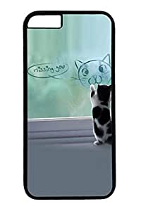 Cat Painting Slim Hard Cover for iPhone 6 Plus Case ( 5.5 inch ) PC Black Cases