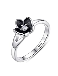GOMORINGS Top Quality 925 Sterling Silver Mystic Floral Stackable Wedding Rings With & Black Enamel Fine Jewelry