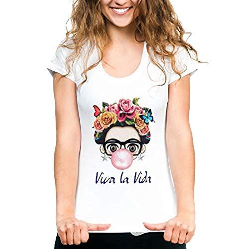 Neonr Women Frida Kahlo Summer T-Shirts Short Sleeve Casual Cute Graphic T-Shirt Tee (White-001, XXX-Large)
