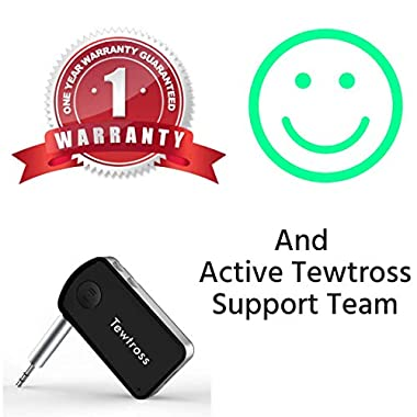 Tewtross Bluetooth V5.0 Audio Receiver Connector Aux for Car Stereo Music System Speaker Premium CSR Chipset Mic Dual Pairing (Bluetooth Receiver) 14