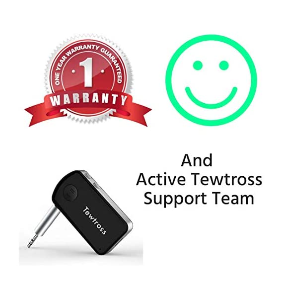 Tewtross Bluetooth V5.0 Audio Receiver Connector Aux for Car Stereo Music System Speaker Premium CSR Chipset Mic Dual Pairing (Bluetooth Receiver) 7