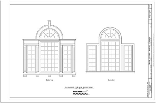 - Historic Pictoric Structural Drawing Palladian Window Elevations - Grace Keiser Maring Library, 1808 South Madison Street, Muncie, Delaware County, in 66in x 44in