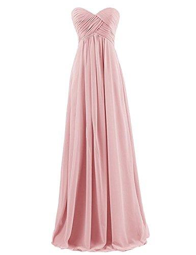 Ouman Sweetheart Bridesmaid Chiffon Prom Dress Long Evening Gown Blush S ()