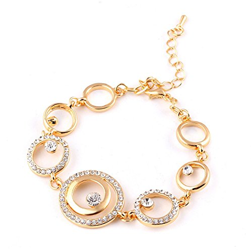 Price comparison product image Adorable Woman The Size Of The Circle Diamond Studded Hook-ups Lobster Clasp Bracelet