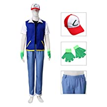 Dazcos Adult / Child Ash Ketchum Monster Trainer Cosplay Costume with Cap