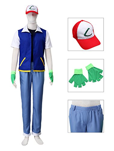 [Dazcos Adult Ash Ketchum Monster Trainer Cosplay Costume with Cap (Men L)] (Mens Monster Costumes)