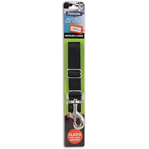 Petmate 11481 Seat Belt Clip Tether for Pets, Medium/Large, Black