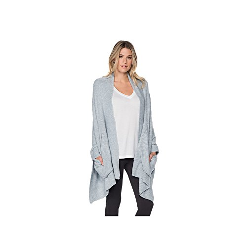 Barefoot Dreams Bamboo Chic Lite Heathered Ribbed Shaw, Color: Chambray-Pearl