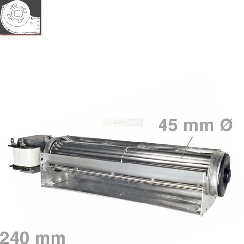 Querstromlü fter 240mm Motor links sitzend Typ A fü r z.B. Backö fen, Nachstromspeicherheizung QLK45/0024A2 Europart