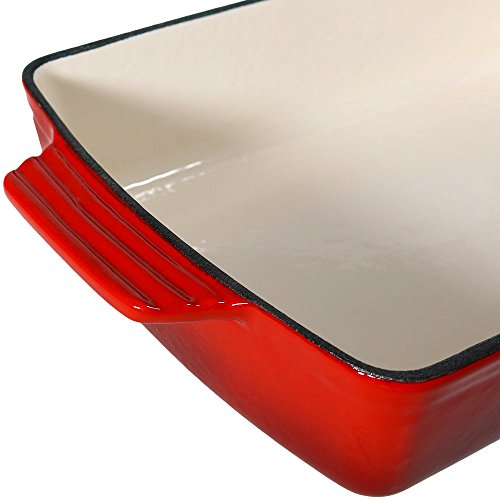 Enameled Cast Iron Deep Baking Dish Roaster/Lasagna Pan, Red, 11.5-Inch by Sunnydaze