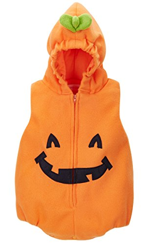 A&J Design Baby Pumpkin Halloween Cosutme Hoodies Bodysuit (18-24 Months, Orange)