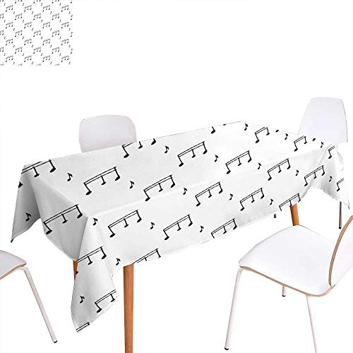 familytaste Music Dinning Tabletop Decoration Musical Notes Theme Melody Sonata Singing Song Clef Tunes Hand Drawn Style Pattern Table Cover for Kitchen 70