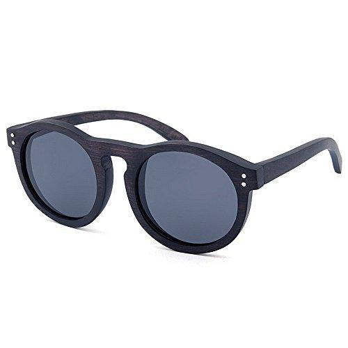 lente alta de conducción pesca vacaciones Retro de mano protección de redondas madera UV Remache de calidad sol hechas de gafas de hombres sol la los gafas decoración a Negro al aire polarizada de de playa w0Zq0AXf